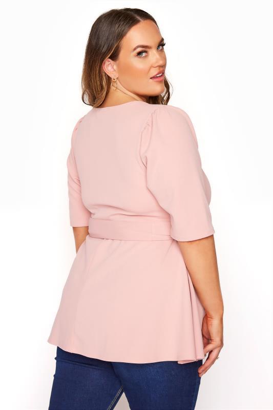 YOURS LONDON Blush Pink Notch Neck Puff Sleeve Peplum Top_C.jpg