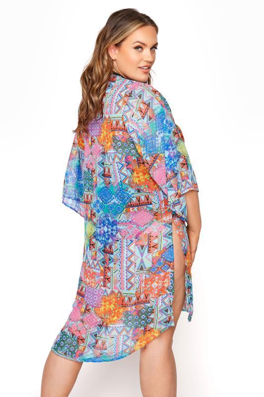 Plus Size  Multi Tribal Kimono