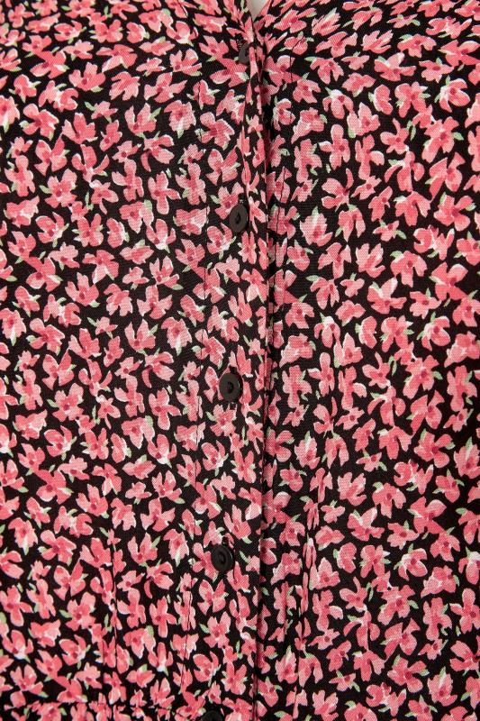 Red Ditsy Print Button Through Peplum Blouse_S.jpg