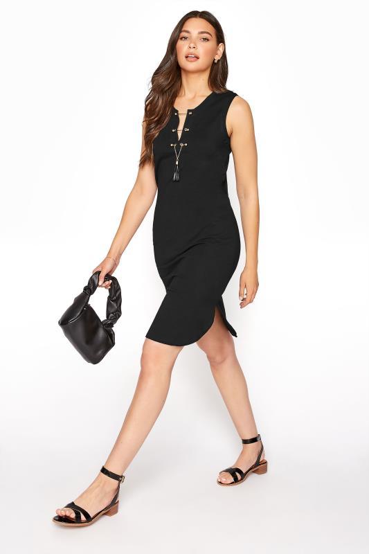 LTS Black Lace Up Sleeveless Tunic