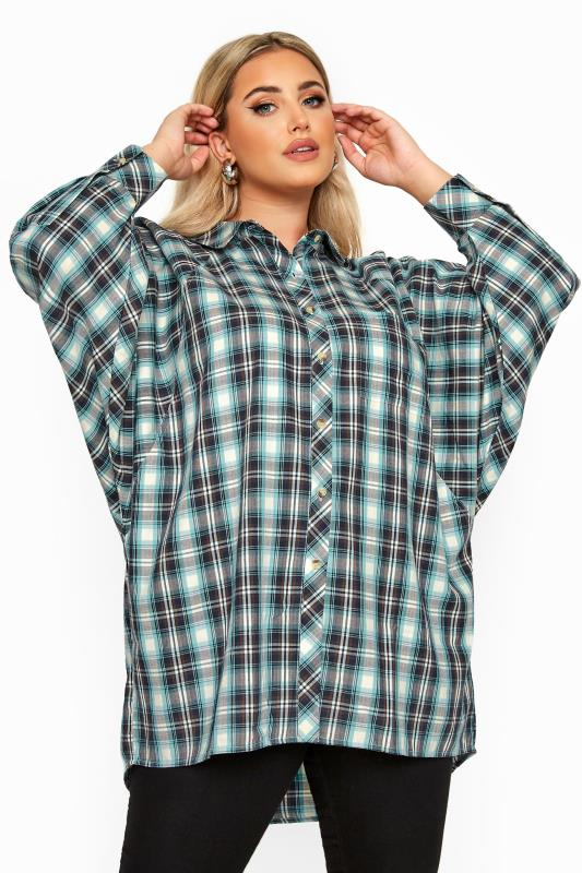 Plus Size Shirts LIMITED COLLECTION Blue Check Oversized Batwing Sleeve Shirt