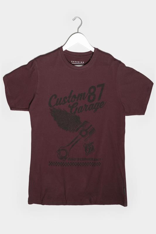 BadRhino Burgundy Custom Garage Graphic Print T-Shirt