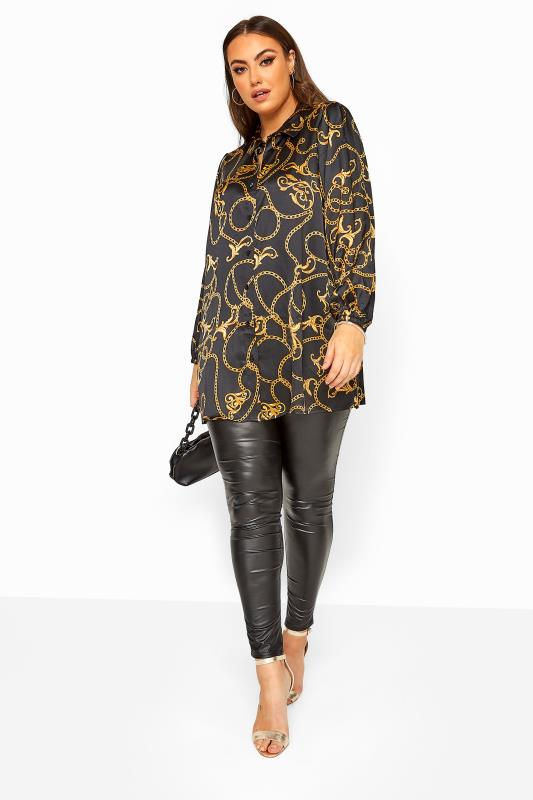 Black Chain Print Satin Balloon Sleeve Shirt