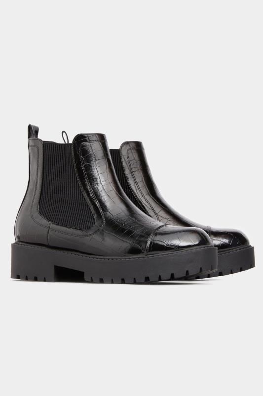 LIMITED COLLECTION Black Patent Croc Platform Chelsea Boots In Wide Fit_C.jpg