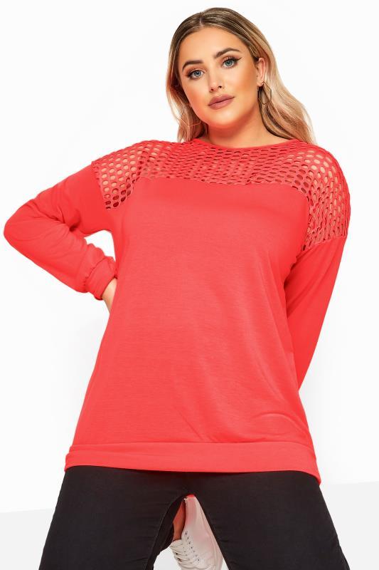 Plus Size Sweatshirts LIMITED COLLECTION Neon Pink Fishnet Panel Sweatshirt