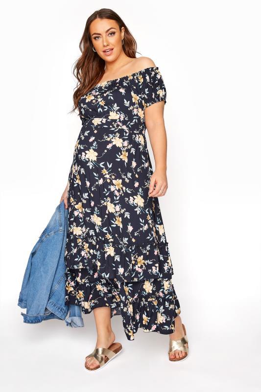 BUMP IT UP MATERNITY Navy Floral Bardot Maxi Dress_B.jpg
