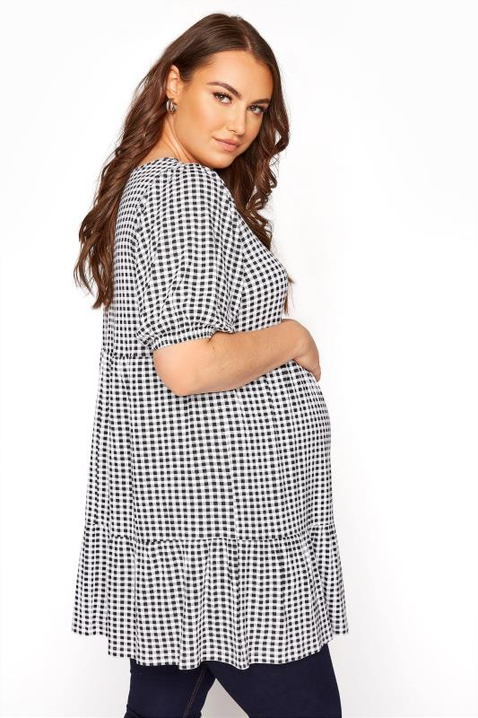 BUMP IT UP MATERNITY Black Gingham Tiered Smock Top_C.jpg