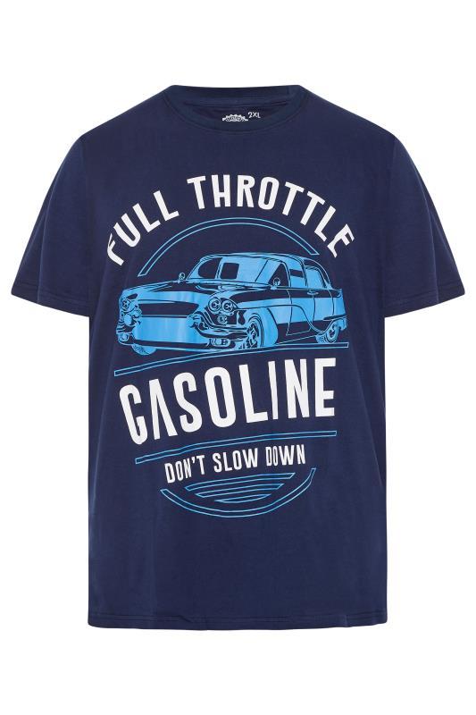 Men's  KAM Navy 'Full Throttle Gasoline' T-Shirt