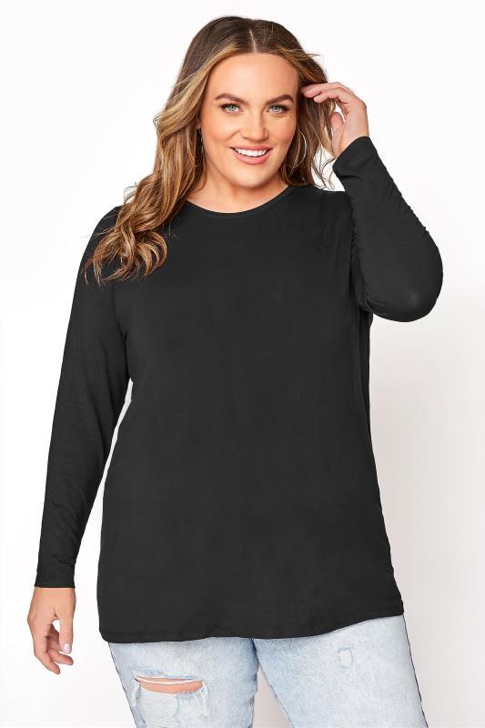 Black Scoop Neck Jersey T-Shirt_A.jpg
