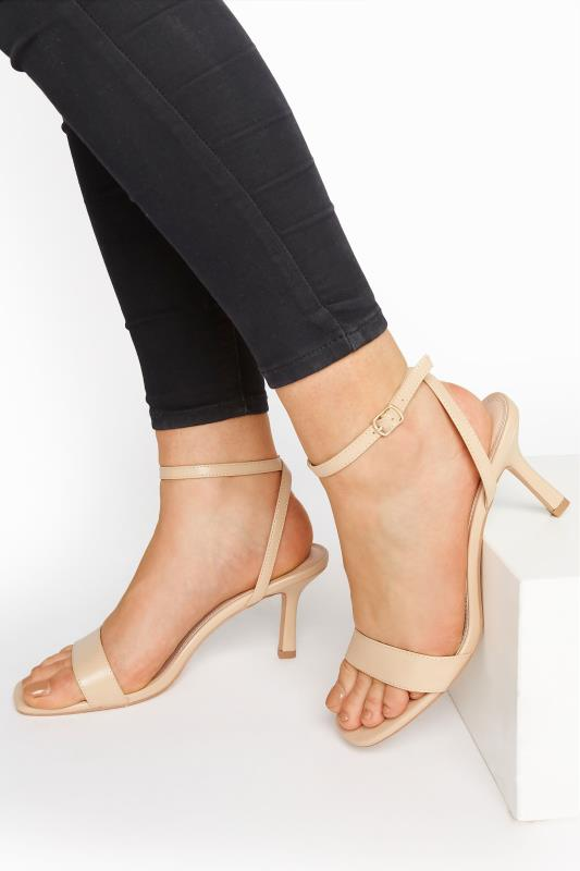 Tall  Nude Skinny Two Part Heel Sandals