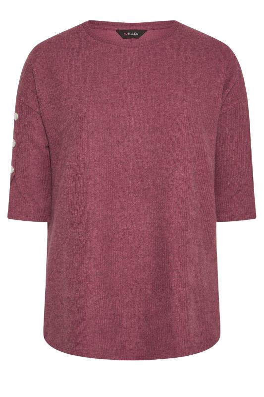 Tallas Grandes Pink Marl Button Sleeve Knitted Top