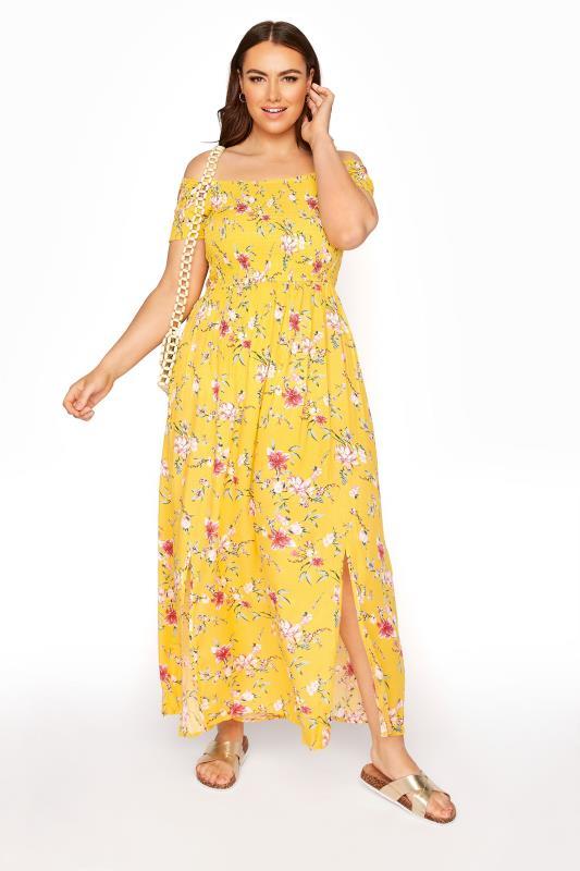 Yellow Ditsy Floral Shirred Bardot Maxi Dress