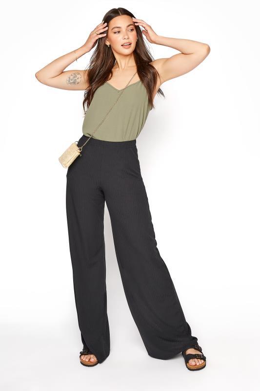 Tall  LTS Black Ribbed Wide Leg Trouser