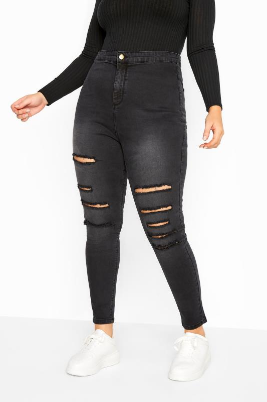 Black Washed Ripped High Rise KIM Skinny Jeans