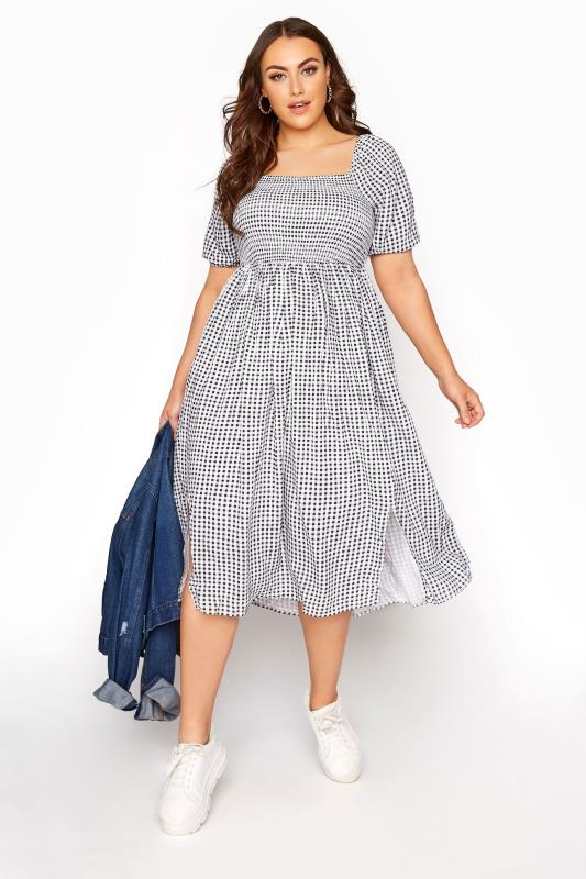 Plus Size  Black Gingham Shirred Midaxi Dress