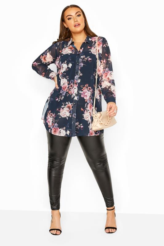YOURS LONDON Navy Floral Print Chiffon Shirt