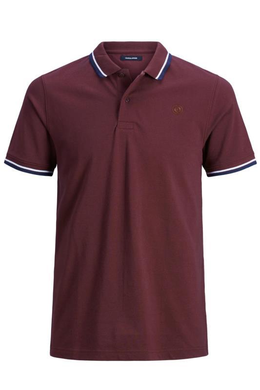 JACK & JONES Burgundy Cotton Pique Polo Shirt