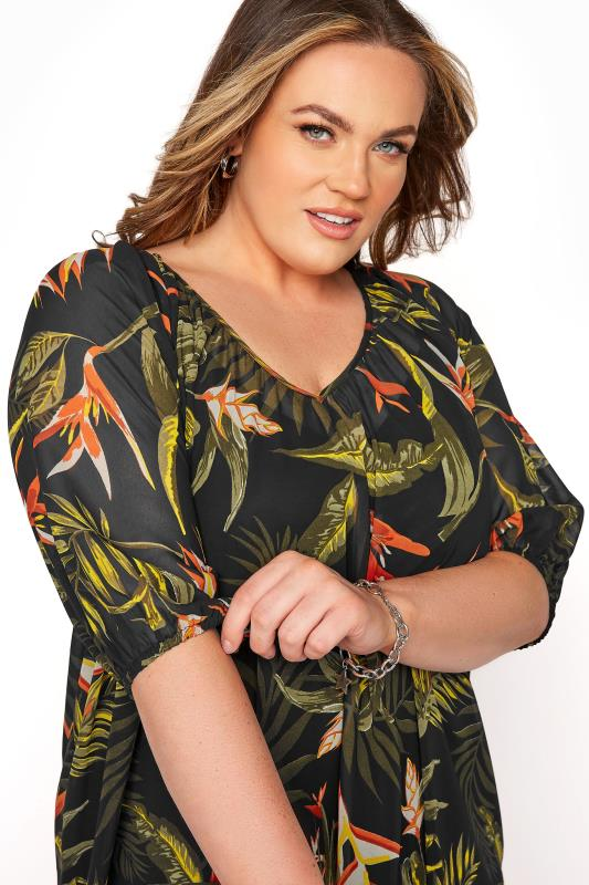 LIMITED COLLECTION Black Tropical Print Dress_D.jpg