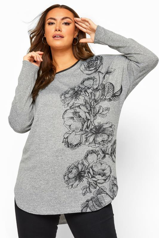 Grey Floral PU Trim Dipped Hem Knitted Top