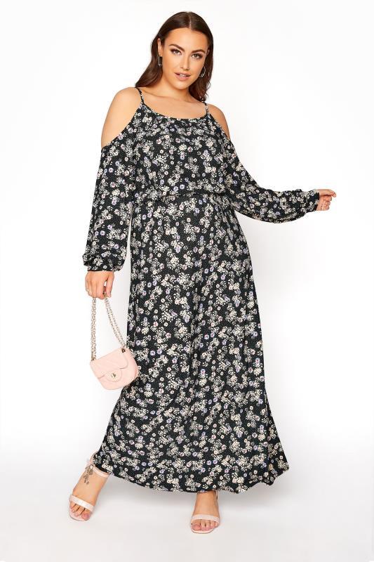 Schwarzes florales Cold Shoulder Maxi Kleid