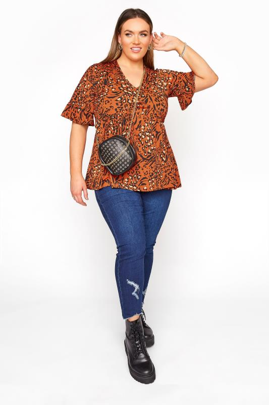 LIMITED COLLECTION Burnt Mix Animal Print Frill Smock Top