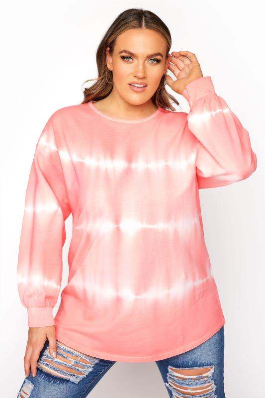Plus Size  Coral Pink Tie Dye Sweatshirt