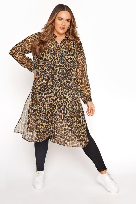 Plus Size  Brown Metallic Animal Print Chiffon Shirt Dress