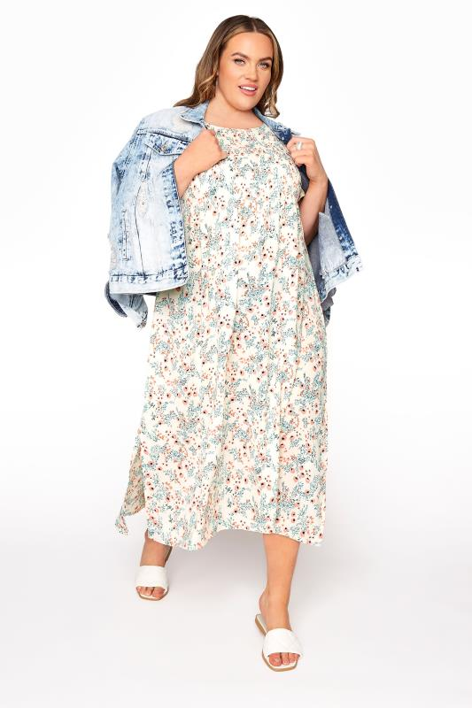 LIMITED COLLECTION White Floral Shirred Maxi Dress_B.jpg