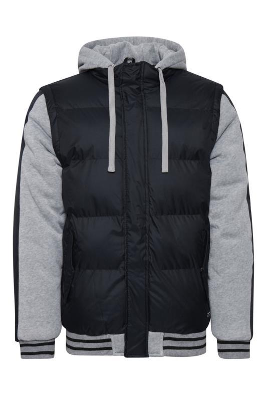 Großen Größen  BLEND Black Padded Jacket With Jersey Sleeves