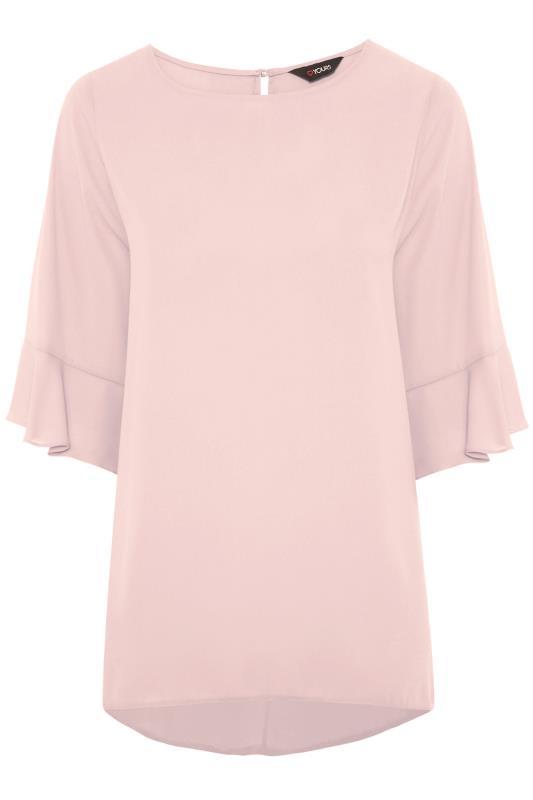 Plus Size  Dusky Pink Flute Sleeve Tunic