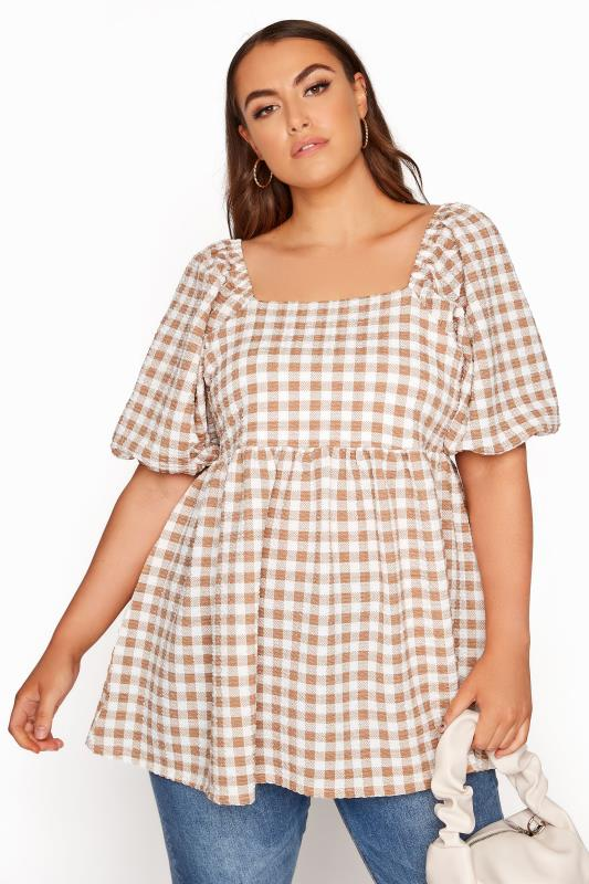 Plus Size  LIMITED COLLECTION Taupe Gingham Square Neck Smock Top
