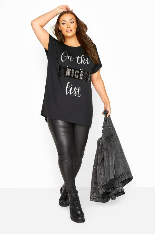 Black Embellished 'Naughty or Nice' Slogan Christmas T-Shirt_B.jpg