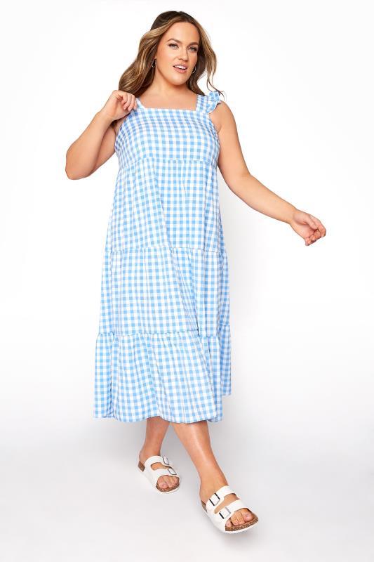 Großen Größen  YOURS LONDON Blue Gingham Frill Dress
