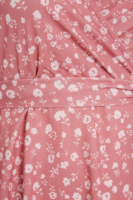 YOURS LONDON Pink Ditsy Puff Sleeve Wrap Top_S.jpg