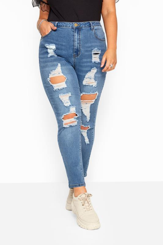 Mid Blue Skinny Ripped AVA Jeans