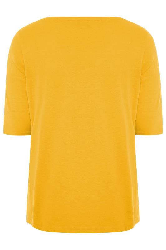 Mustard Yellow V-Neck Cotton Top