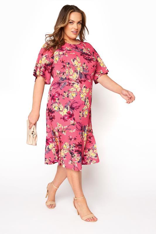 YOURS LONDON Pink Floral Oriental Dress_B.jpg