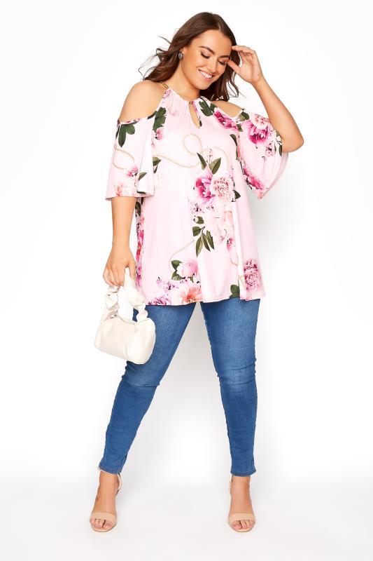 YOURS LONDON Pinkfarbenes florales Cold Shoulder Oberteil mit Ketten Detail