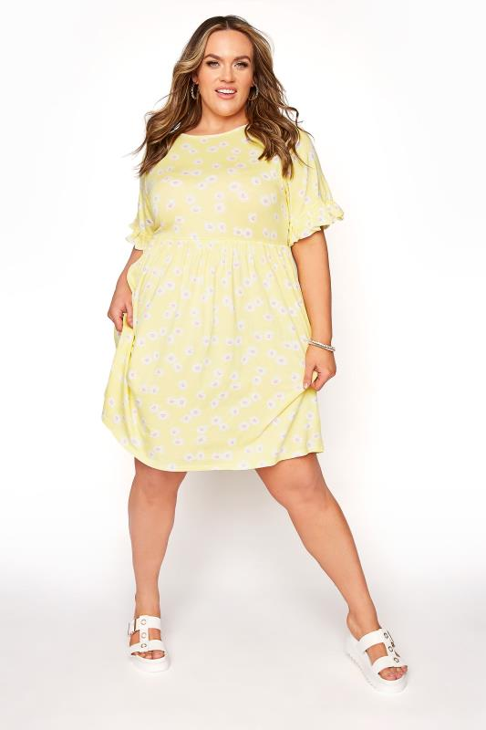 Lemon Yellow Floral Print Short Frill Sleeve Dress_A.jpg