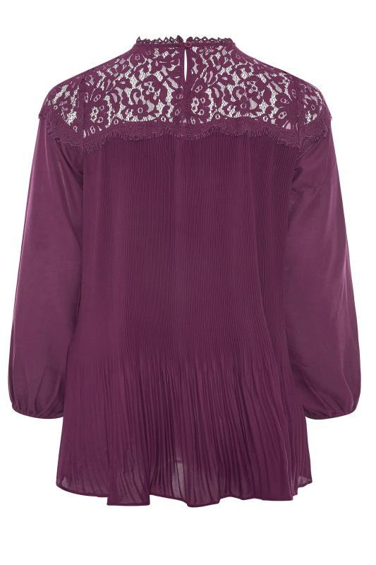 YOURS LONDON Purple Lace Plisse Chiffon Blouse_BK.jpg