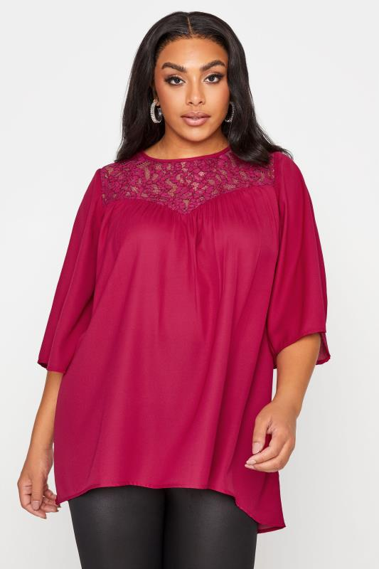 Plus Size  LIMITED COLLECTION Pink Lace Insert Blouse