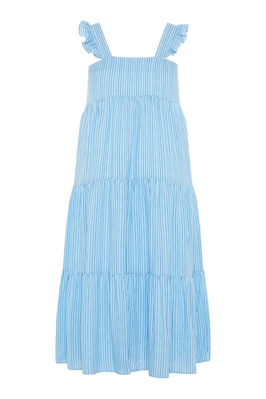 YOURS LONDON Blue Stripe Frill Tiered Midi Dress_BK.jpg