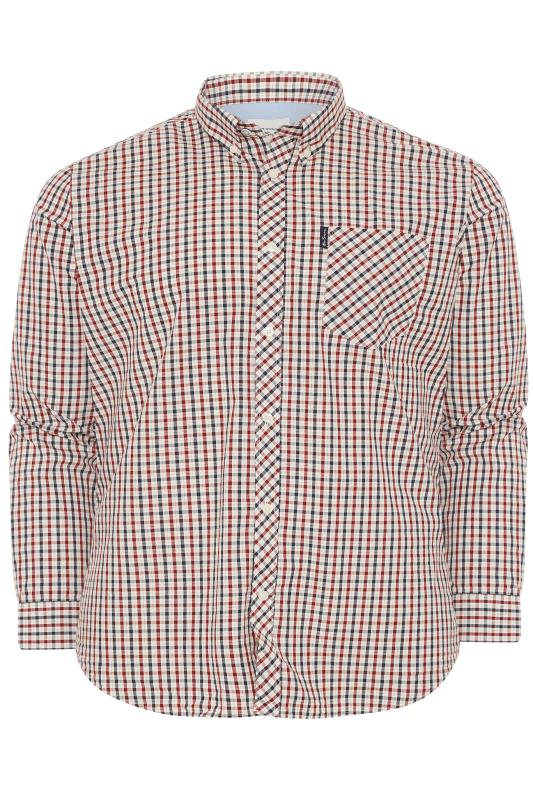 Plus Size  BEN SHERMAN Red Check Signature Long Sleeve Oxford Shirt