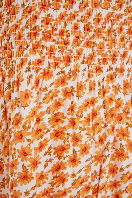 Orange Floral Shirred Smock Vest Top_S.jpg