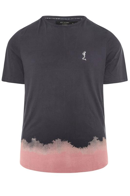 Grande Taille RELIGION Black Half Print T-Shirt
