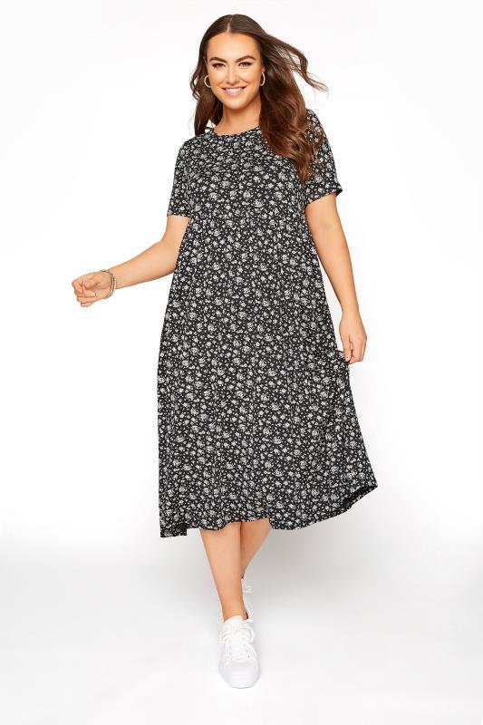 Black Ditsy Print Peplum Midaxi Dress_A.jpg
