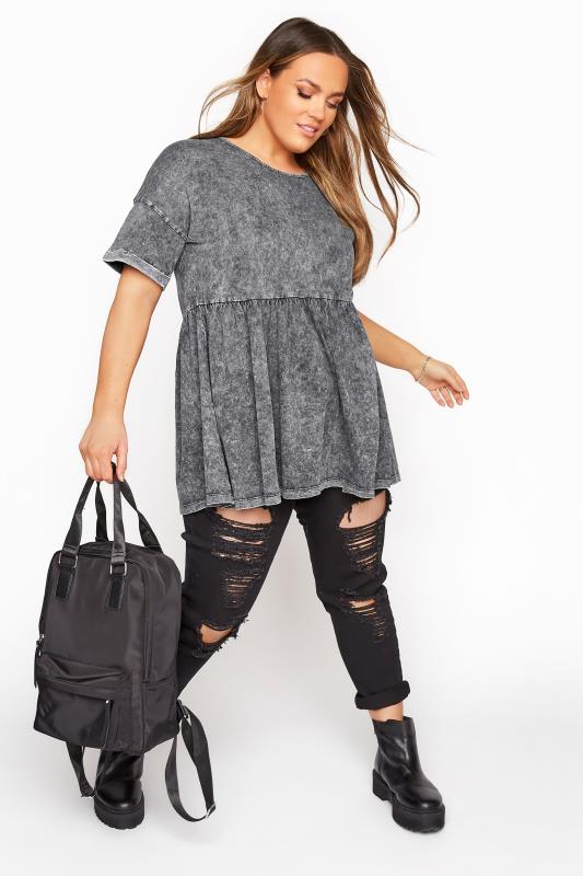 Plus Size  Grey Acid Wash Drop Shoulder Peplum Tunic