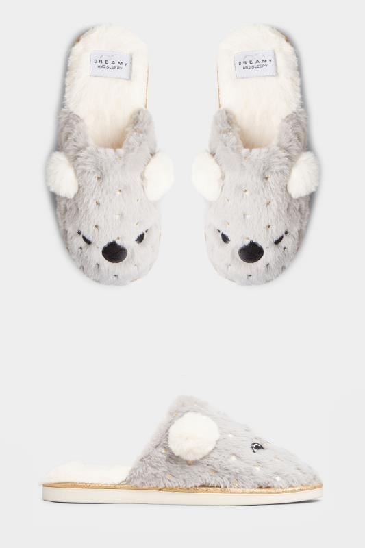 Grey Vegan Faux Fur Koala Mule Slippers In Regular Fit_split.jpg