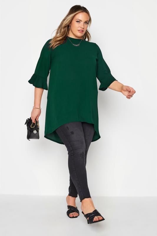 YOURS LONDON Forest Green Flute Sleeve Blouse_B.jpg
