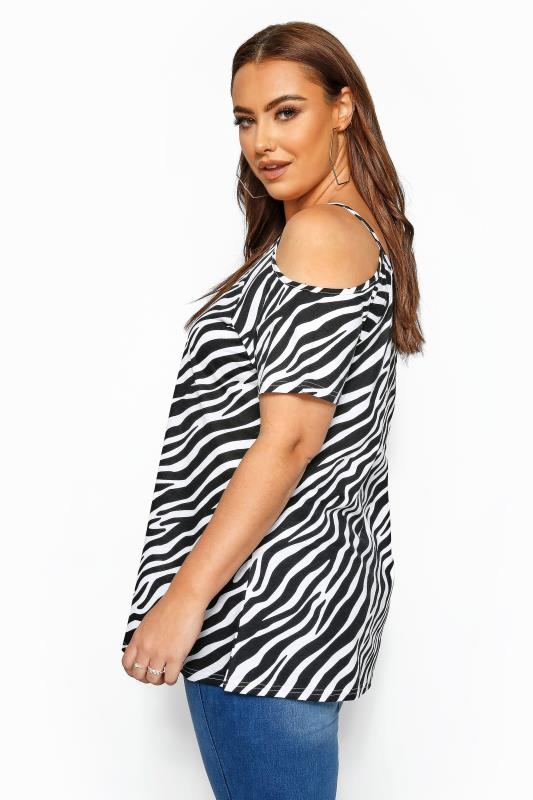 Black & White Zebra Print Strappy Cold Shoulder Top